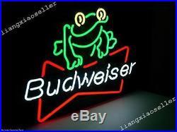 17X14 BUDWEISER FROG AMERICAN LAGER BEER NEON LIGHT BEER BAR PUB SIGN Free Ship