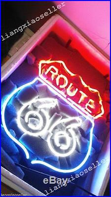 17X14 Rare HISTORIC ROUTE 66 Handcrafted BEER BAR NEON LIGHT SIGN PUB DISPLAY