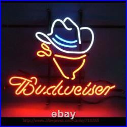17x14Budweiser Cowboy Neon Sign Light Beer Bar Pub Handcraft Wall Hanging Art