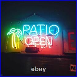 17x14Patio Open Palm Tree Neon Sign Light Beer Bar Pub Wall Hanging Visual Art