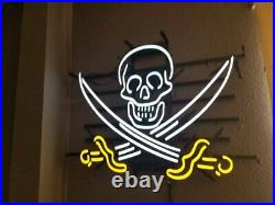 17x14Pirate Skull Neon Sign Light Beer Bar Pub Wall Hanging Real Glass Tube