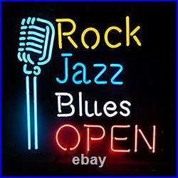 17x14Rock Jazz Blues Open Microphone Neon Sign Light KTV Beer Bar Pub Decor