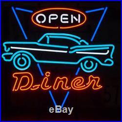 17x17Car Open Neon Sign Light Beer Bar Pub Shop Wall Poster Club Decor Display