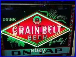 1930s Grain Belt Beer porcelain neon sign. Rare Chevrolet garage Ford Cadillac