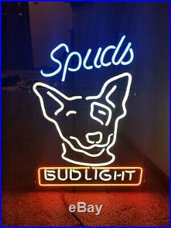 1980s bud light beer spuds Mackenzie dog head neon light up sign anheuser Busch