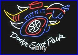 19X15 Dodge Scat Pack Mopar Real Glass Neon Sign Beer Bar Light