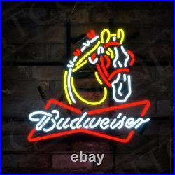 19x15Budweiser Clydesdale Neon Sign Light Beer Bar Pub Wall Poster Room Decor