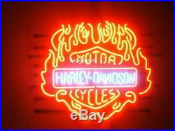 24X21 Harley Davidson Fire Flame HD Motorcycle Real Neon Sign Beer Bar Light