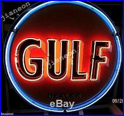 24X24 Old Gulf Dealer Gas & Oil NEON SIGN BEER LIGHT Lighted Backing