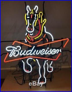 24x18Bud Horse Neon Sign Light Beer Bar Pub Wall Decor Handmade Visual Artwork