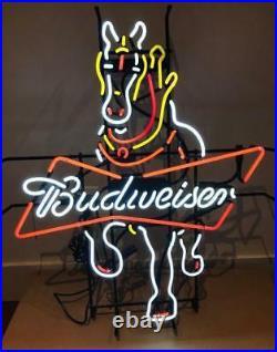 24x20Bud Horse Neon Sign Light Beer Bar Pub Wall Decor Handmade Visual Artwork