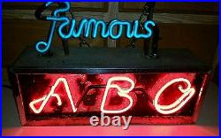 Aztec Brewing Company Neon Famous ABC 1930's, Original Rare Beer Sign
