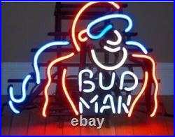 Bud Man Hero Neon Sign Lamp Light Beer Bar With Dimmer