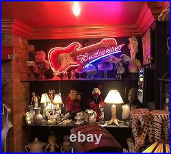 Budweiser Beer Advertising Neon Guitar Sign Rare Glows 3 Colors ManCave Tavern