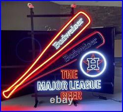 Budweiser Motion MLB Houston Astros Baseball Beer Bar Led Light Sign Neo Neon