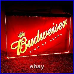 Budweiser RED 3D Printed UK Bar Pub Beer Mancave Neon Sign LED Light Plaque Gift