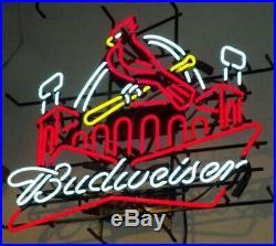 Budweiser St Louis Cardinals Stadium Neon Light Sign 24x20 Beer Cave Bar Glass