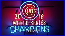 Chicago Cubs 2016 World Series Neon Sign 20x16 Light Lamp Beer Bar Decor Glass