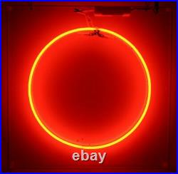 Circle Red Neon Sign Lamp Light 10x10 Acrylic Box Beer Bar Glass With Dimmer