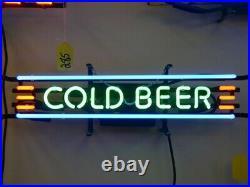 Cold Beer Neon Lamp Sign 17x6 Bar Pub Light Glass Artwork Decor Windows Decor