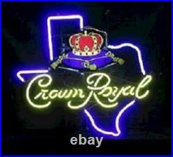 Crown Royal Whiskey Texas Neon Light Sign Lamp 17x14 Beer Artwork Decor Glass