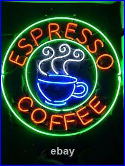 Espresso Coffee Cafe Open Neon Light Sign 24x24 Beer Cave Gift Bar Artwork