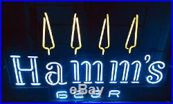 Extra Large Vintage 1960s -70s Hamms Beer 4 Pine Tree Lighted Neon Sign 3 Ft Bar