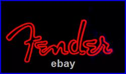 Fender Red Guitar Neon Lamp Sign 17x14 Bar Light Glass Artwork Display Beer