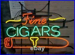 Fine Cigars Neon Light Sign Lamp 17x14 Beer Bar Artwork Decor Glass Store Pub