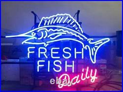 Fresh Fish Daily Neon Sign 20x16 Light Lamp Beer Bar Display Artwork Windows