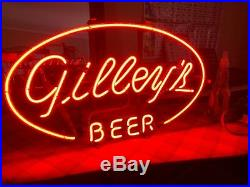 Gilley's Beer sign Neon original sign (large transformer) all red neon. RARE