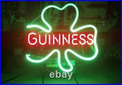 Guinness Clover Neon Sign Beer Bar Pub Gift Light 20x16 Artwork Glass