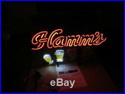 Hamms Beer Sign Motion Led Light Up Goblets Bar Mugs Neo Neon Man Cave Pub New