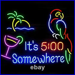 It's 5 O'clock Somewhere Parrot Neon Light Sign Lamp 19 Beer Glass Decor Real