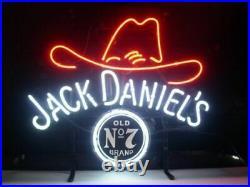 Jack Daniels's Cowboy Hat No. 7 Real Neon Sign Beer Bar Light Lamp Home Decor