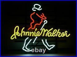 Johnnie Walker Whiskey Neon Sign 20x16 Light Lamp Beer Bar Pub Decor Glass
