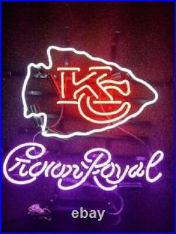 Kansas City Chiefs Crown Royal Neon Sign 20x16 Light Lamp Beer Bar Decor Glass