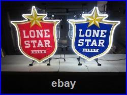 LONE STAR BEER neon shield sign set / bar light Texas rare pearl shiner