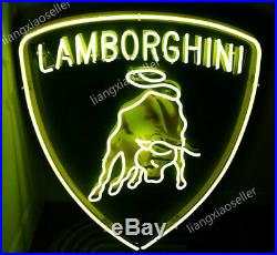 Lamborghini Racing Horse Logo Beer Bar Mancave Real Neon Sign Free Shipping