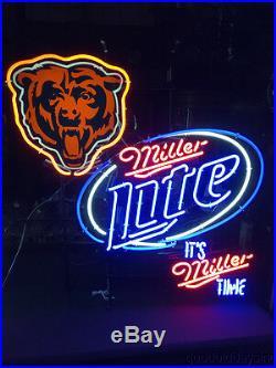 Large Miller Lite Chicago Bears Neon Beer Sign Bar Light It's Miller Time