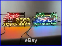 Lot of 2 Neon sign Free beer tomorrow and Party at the lake happy cocktail hour