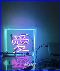Love Chinese Neon Sign Lamp Light 10x10 Acrylic Box Beer Bar Glass With Dimmer