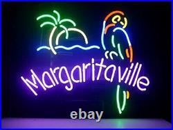 Margaritaville Palm Tree Parrot Neon Light Sign 17x14 Lamp Beer Bar Pub Glass