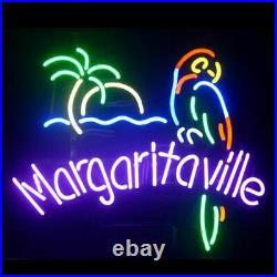 Margaritaville Palm Tree Parrot Neon Light Sign Lamp 17x14 Beer Glass Decor