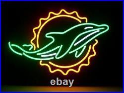 Miami Dolphins Neon Sign 20x16 Light Lamp Beer Bar Windows Hang Decor Glass