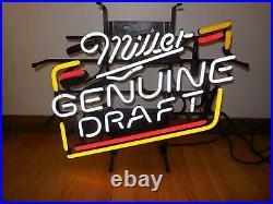 Miller Genuine Draft Beer Neon Lamp Sign 17x14 Bar Light Glass Artwork