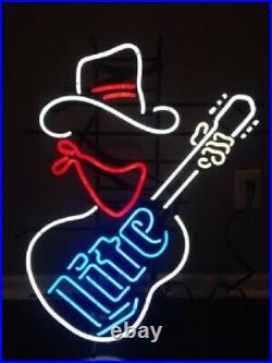 Miller Lite Cowboy Guitar Neon Sign 20x16 Light Lamp Beer Bar Pub Decor Glass