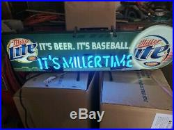 Miller Lite Neon Beer Sign Baseball Team Pub Light Bar Tavern Issue Man Cave