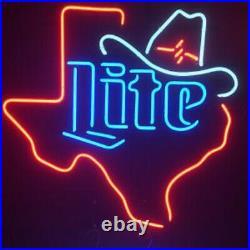 Miller Lite Texas Cowboy Neon Sign 20x16 Light Lamp Beer Bar Pub Real Glass