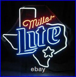 Miller Lite Texas Map Neon Sign 20x16 Light Lamp Beer Bar Pub Decor Windows